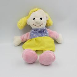 Doudou poupée jaune blanc rose bleu BEST PRICE LONDON