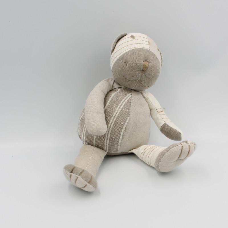 Doudou peluche ours gris beige blanc tissu