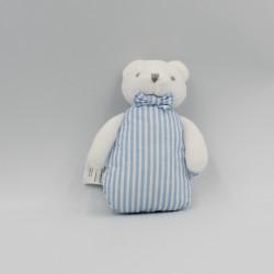 Mini Doudou ours blanc bleu rayé JACADI