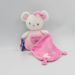 Doudou souris blanche rose mouchoir LUMINOU