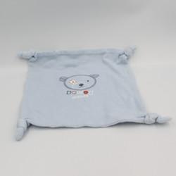Doudou plat carré ours bleu ABSORBA