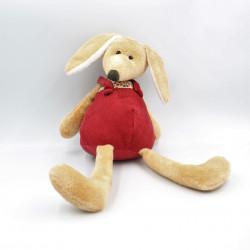 Doudou renard chien beige salopette rouge EGMONT TOYS