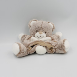 Doudou plat marionnette ours beige blanc TEX BABY