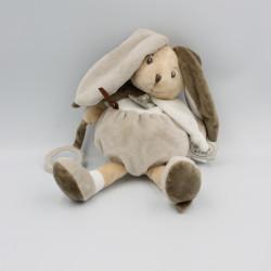 Doudou et compagnie lapin blanc gris marron hochet miroir LA GRANDE RECRE