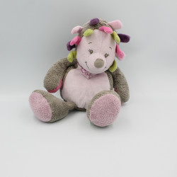 Doudou hérisson marron gris rose vert Manon NATTOU 28 cm