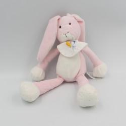 Doudou lapin rose blanc bavoir DMC