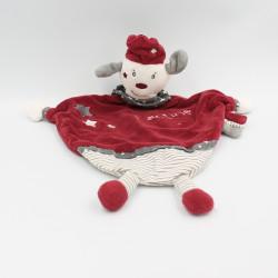 Doudou plat chien gris bordeaux Olaf et Faustine SAUTHON