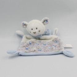 Doudou plat mouton blanc beige bleu NICOTOY