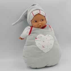 Doudou baby pouce poupée gris blanc rouge étoiles COROLLE