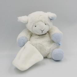 Doudou et compagnie mouton agneau blanc bleu mouchoir 25 cm