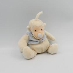 Doudou singe bleu blanc palmier JOLLYBABY 18 cm