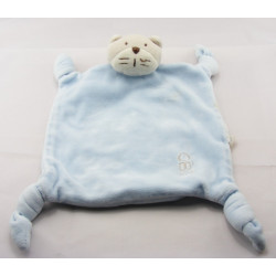 Doudou plat carré bleu chat OBAIBI