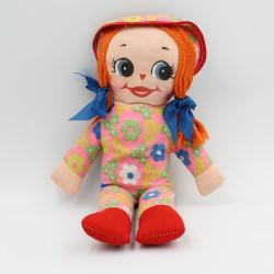 Ancienne poupée chiffon rose rouge fleurs Vintage