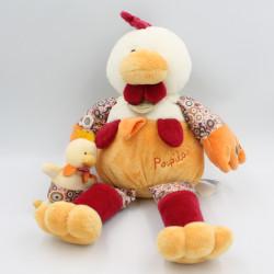 Doudou et compagnie coq poule Poupilou avec bébé 36 cm