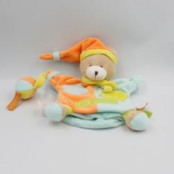 Doudou et compagnie marionnette ours Zigzag bleu orange jaune balle