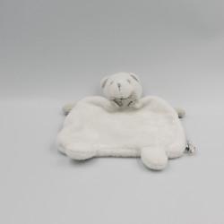 Doudou plat ours blanc gris Toute Petite Jacadi Parfum JACADI