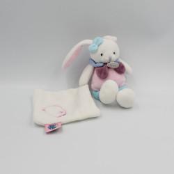Doudou lapin rose blanc bleu Berry mouchoir BABY NAT