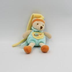 Doudou attache tétine ours bleu orange jaune BABY NAT