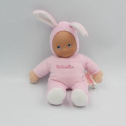 Doudou poupée poupon lapin rose PETITCOLLIN