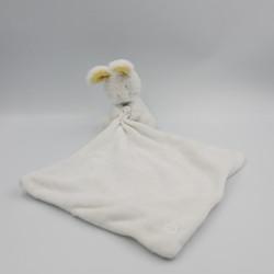 Doudou lapin blanc jaune gris mouchoir SERGENT MAJOR