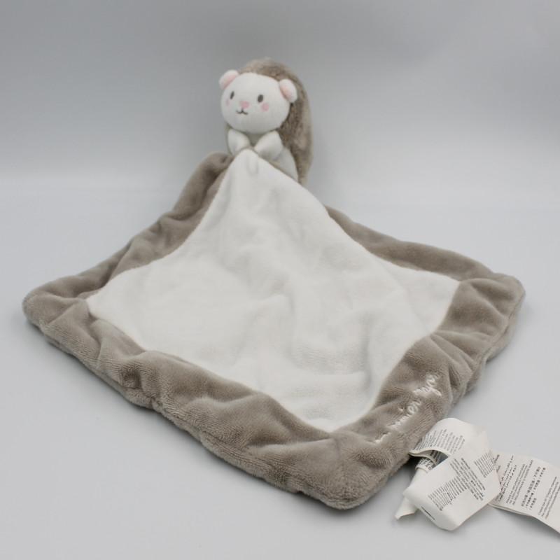 Doudou hérisson beige blanc mouchoir SERGENT MAJOR