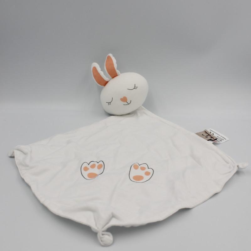 Doudou lapin blanc orange BOITE A MALICES