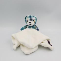 Doudou plat ours carreaux bleu blanc jaune SERGENT MAJOR