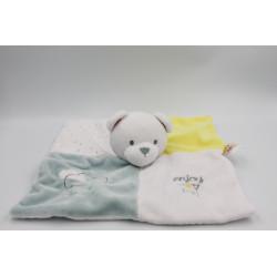 Doudou plat ours blanc bleu jaune enjoy nuage DOUKIDOU