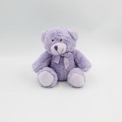 Doudou peluche ours mauve violet noeud