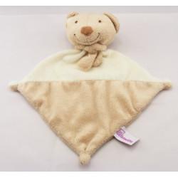 Doudou plat carré beige ecru ours POMMETTE