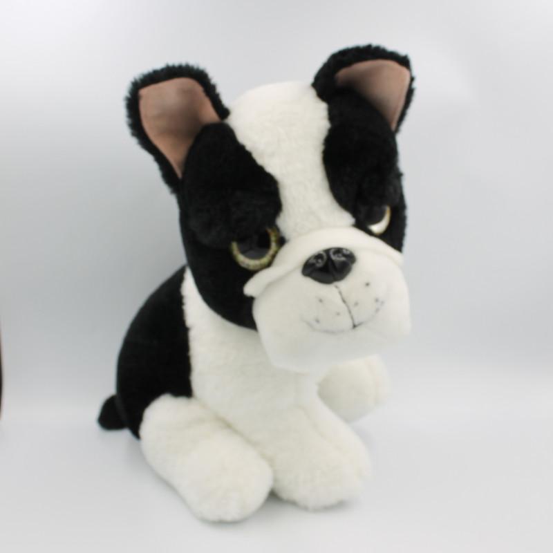 Grande Peluche chien noir blanc gros yeux brillant ZD TRADING
