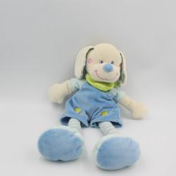 Doudou chien bleu foulard vert oiseau MOTS D'ENFANTS