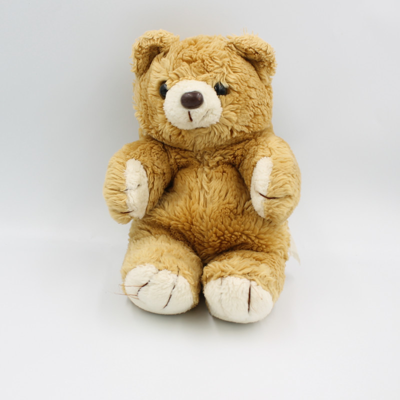 Ancienne peluche ours beige marron blanc