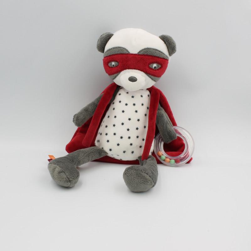 Doudou panda gris blanc cape rouge super héros TAPE A L'OEIL