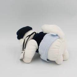 Doudou écureuil blanc bleu gilet et béret TARTINE ET CHOCOLAT