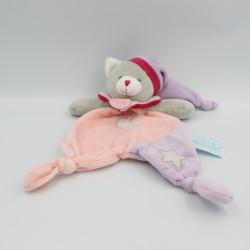 Doudou luminescent plat chat gris rose mauve étoile lune BABY NAT