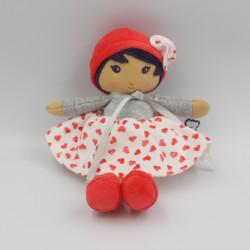 Doudou poupée blanc rouge gris coeurs KALOO