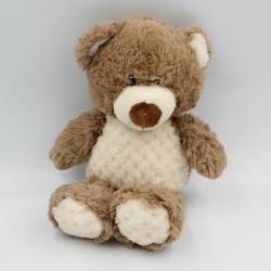 Doudou peluche ours marron blanc ZDT
