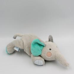 Doudou micro-ondable bouillotte éléphant gris vert DODIE