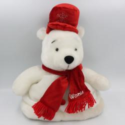 Peluche chapeau Winnie l'ourson blanc rouge Noël Chrismas DISNEYLAND
