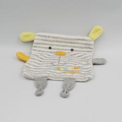 Doudou plat chien lapin gris blanc jaune rayé Mon doudou préféré MOTS D'ENFANTS