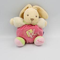 Doudou lapin patapouf rose blanc vert K sporty KALOO