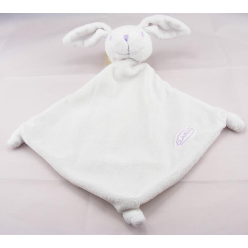 Doudou plat lapin blanc couture mauve CLARINS