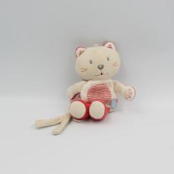 Doudou attache tétine chat rouge beige blanc SUCRE D'ORGE