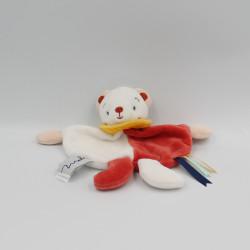 Doudou plat ours blanc rouge jaune MAILOU