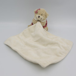 Doudou ours beige rouge mouchoir DUSAVV
