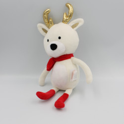 Doudou renne cerf blanc rouge or VERTBAUDET