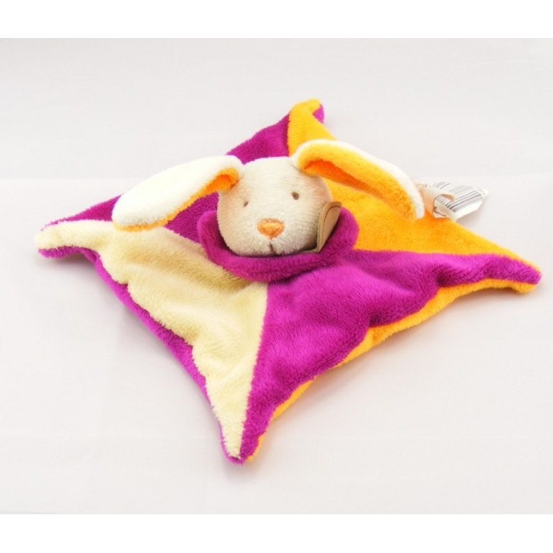 Doudou plat lapin rose orange écru BABY NAT