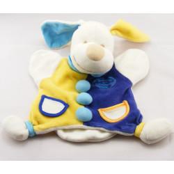 Doudou plat chien bleu jaune avec os DOUDOU ET COMPAGNIE