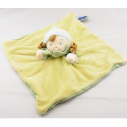 Doudou fille fillette tenue verte bleue bonnet rayé MOTS D'ENFANTS